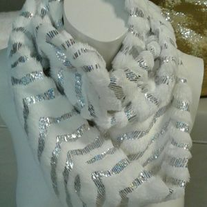 COPY - White and silver infinity scarf